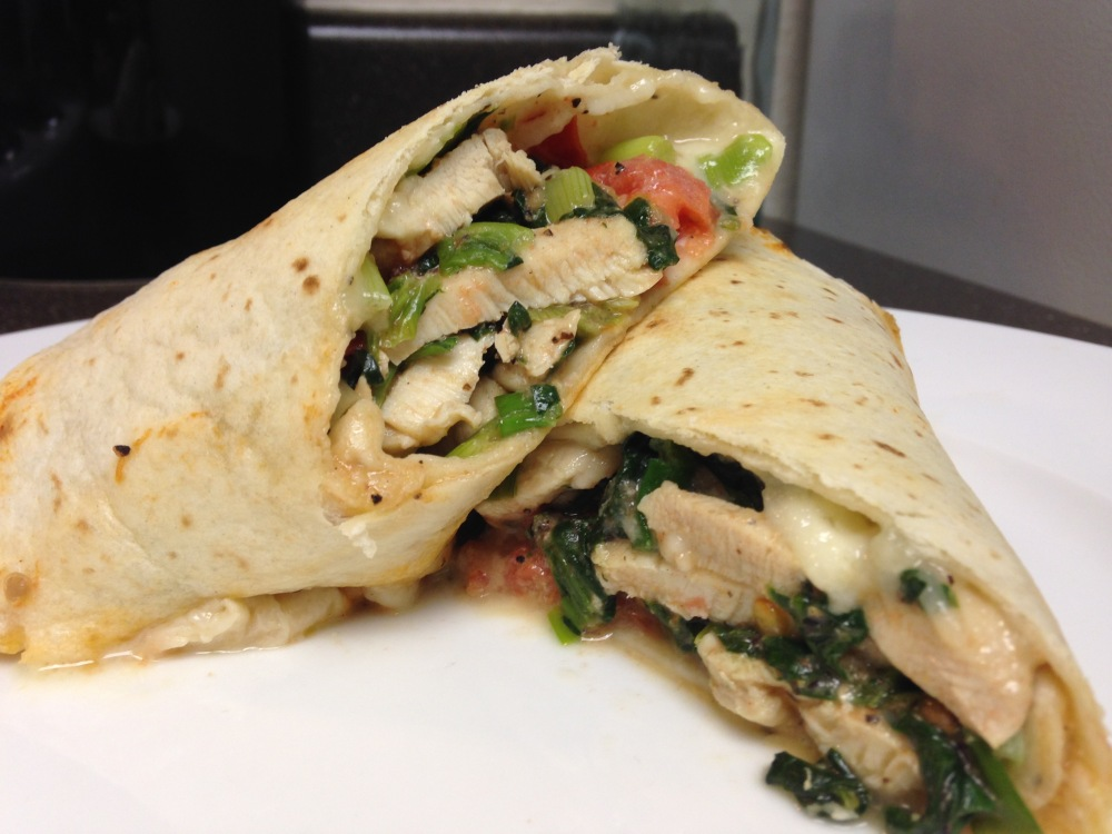 Brie, Chicken, Tortillas, Spinach, Tomatoes, Green Onions
